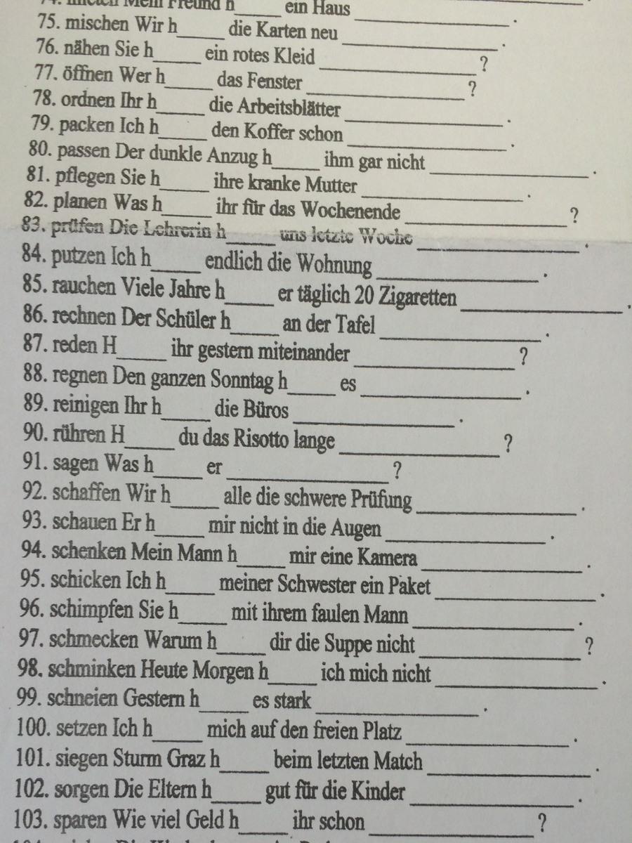 Вставить глаголы в перфекте haben + ge - - - (e)t?
