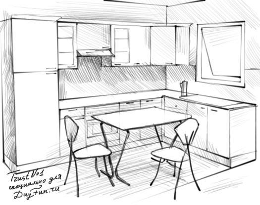 """Помогите пожалуйста написать сочинение на тему """"Кухня моей мечты"""" Нужно рассказать по рисунку который изображён ниже что вы видите и описать его?"""