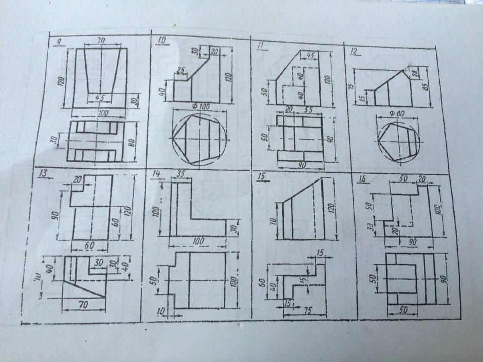 Помогите сделать 3 проекции 13 варианты?