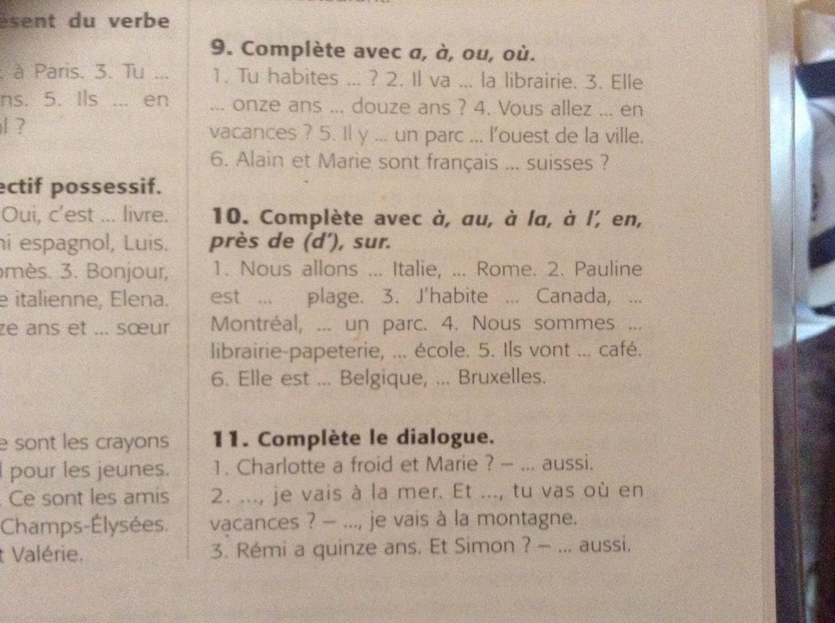Помогите пожалуйста, я вообще НОЛЬ в французском 8 и 9?