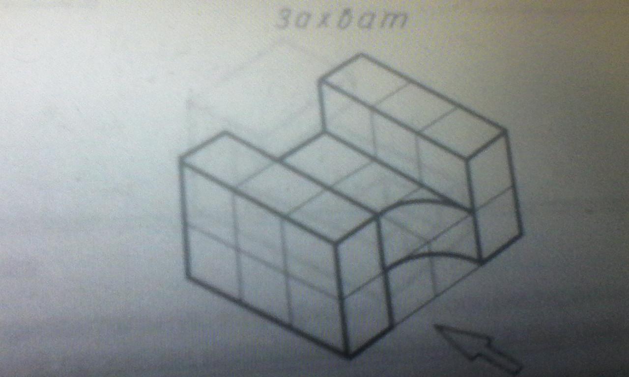 Постройте фронтальную и горизонтальную проекции детали, выбрав для фронтальной проекции направление, указанное стрелкой?