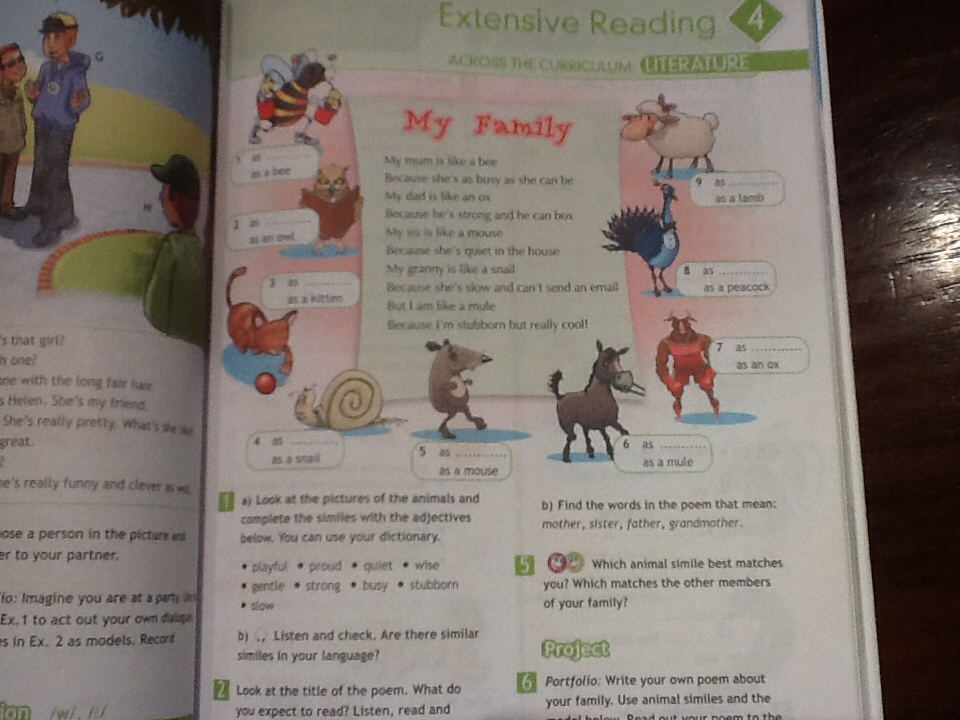 Look at the pictures of the animals and complete the similes with the adjectives below you can use your dictionary?