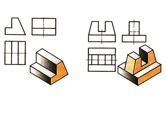 Выделите на всех проекциях соответствующие грани тем же цветом, что и на наглядных изображениях?