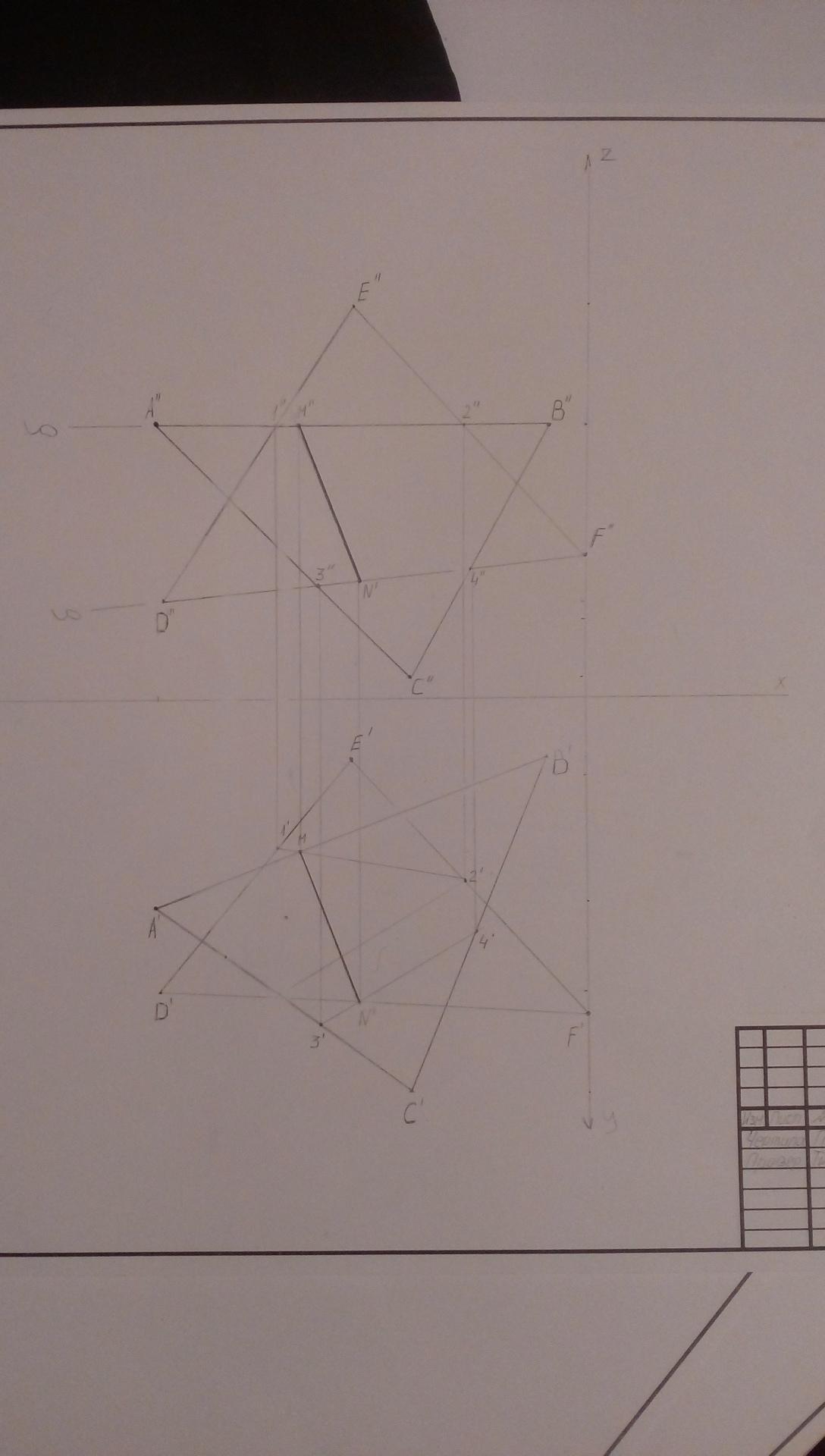 Скажите пожалуйста где будут видимые и невидимые линии?