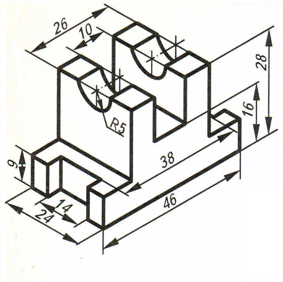 Постройте чертёж детали (3 вида) по её наглядному изображению с учётом симметрии в 2 плоскостях, нанесите размеры?