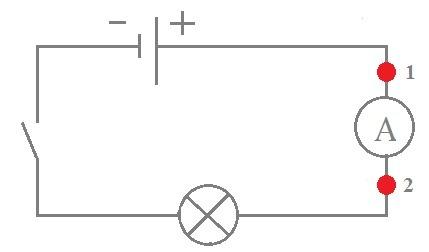 В каком направлении течёт ток через амперметр при замкнутой цепи?