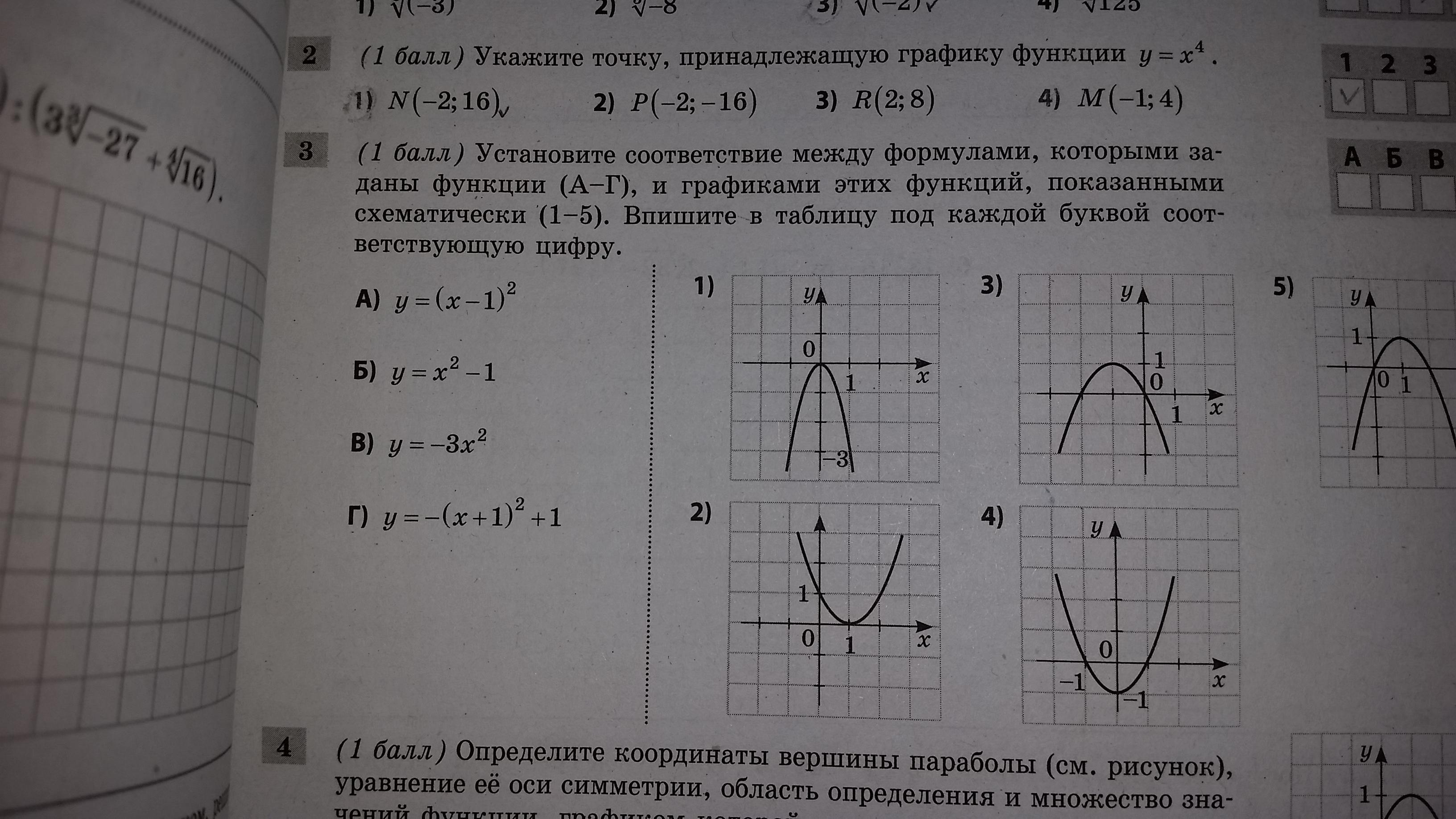 Установите соответствие между формулами которыми заданы функции (А - Г), и графиками этих функций?