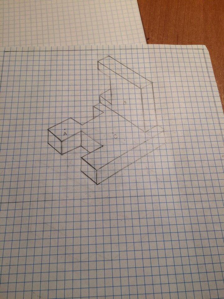 Помогите начертить главный вид , сбоку и сверху напримере 1 рисунка , только мне под цифрой 2 картинка?