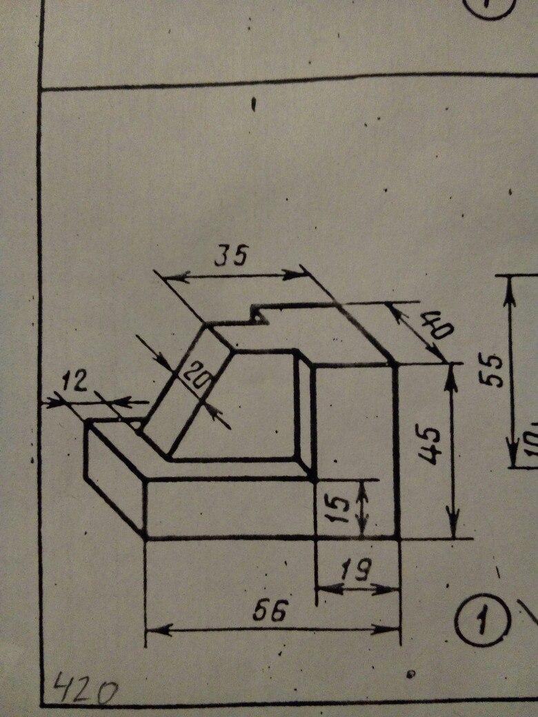 """"""" Выполнить по аксонометрической проекции чертеж модели ( построить три проекции и нанести размеры )?"""