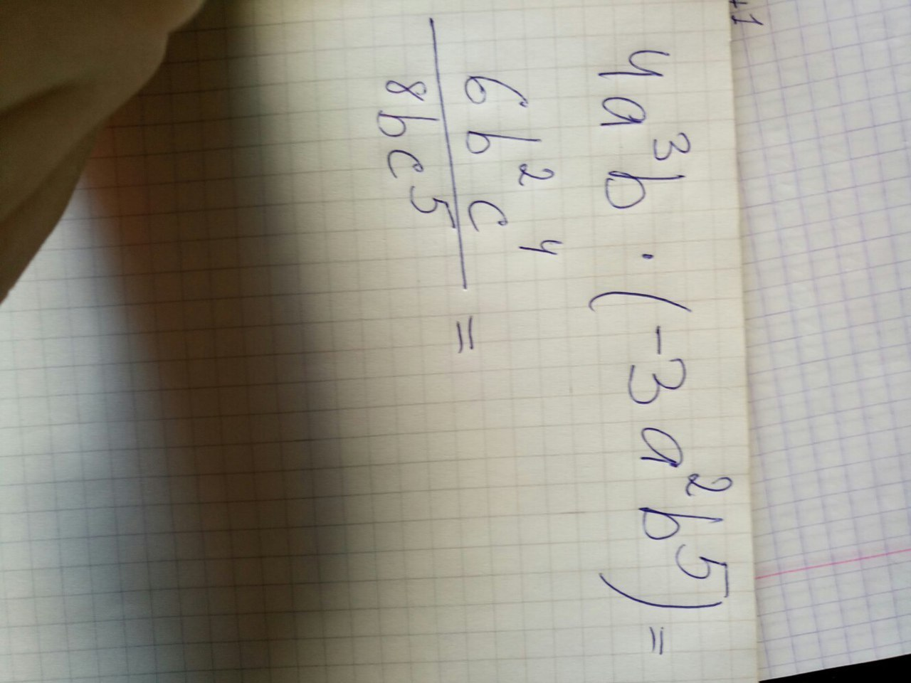 Помогите пожалуйста (25баллов)Упростите выражения :4[tex] a ^ {3} [ / tex]b * ( - 3[tex] a ^ {2} [ / tex] [tex] b ^ {5} [ / tex])[tex] \ frac{6 b ^ {2} c ^ {4} }{8b c ^ {5} } [ / tex]?